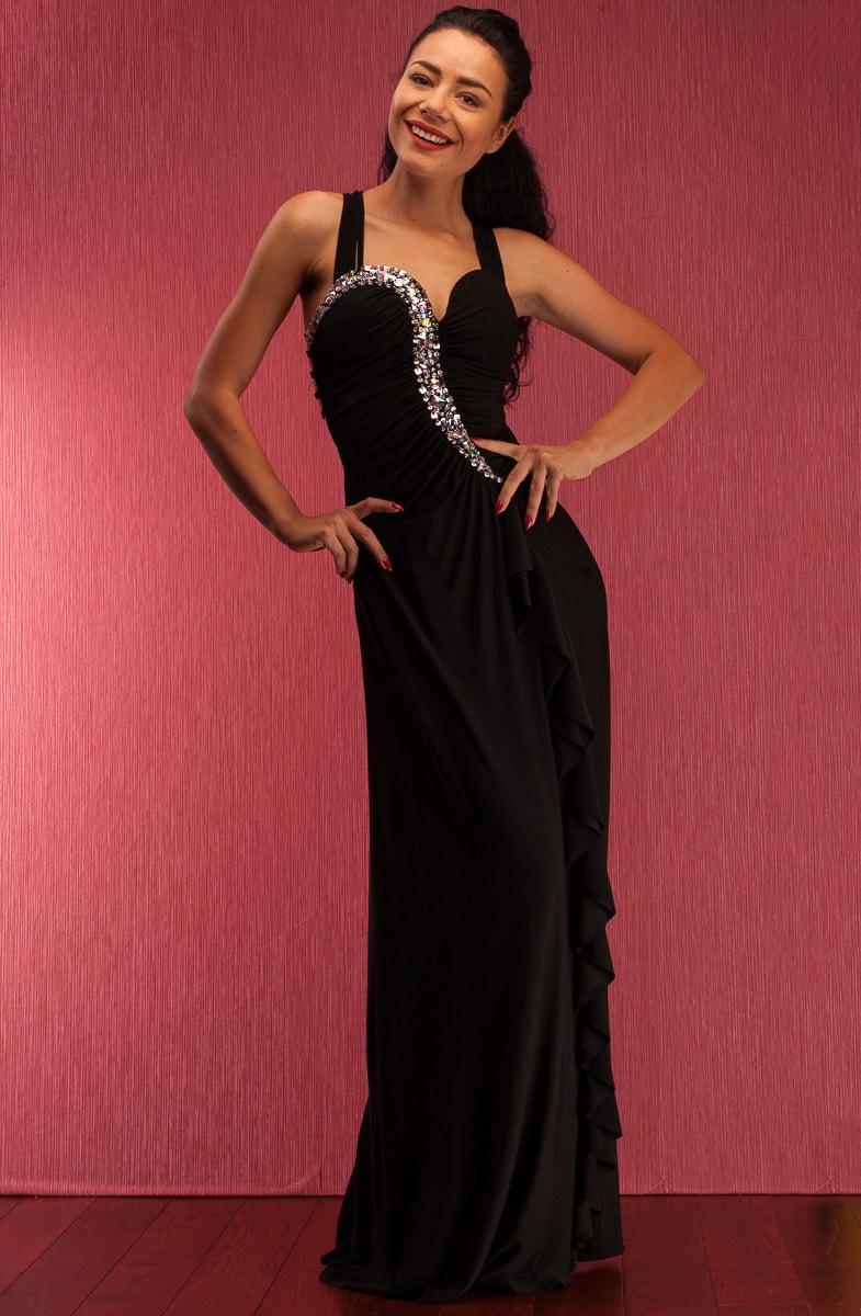 Společenské dlouhé šaty s tenkými ramínky a zdobením - černá - Due ... 8daf1c482d