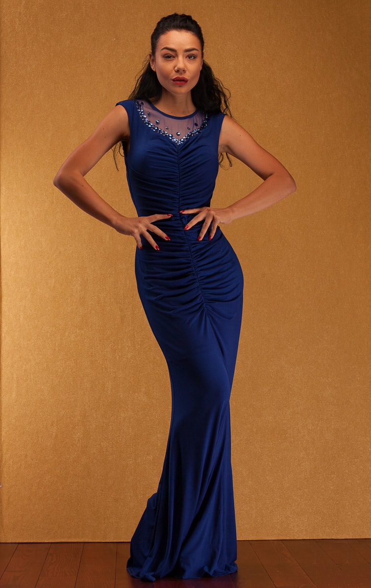 Glamadise.sk - Spoločenské dlhé šaty s riasením a zdobením - modrá ... e5a21310114