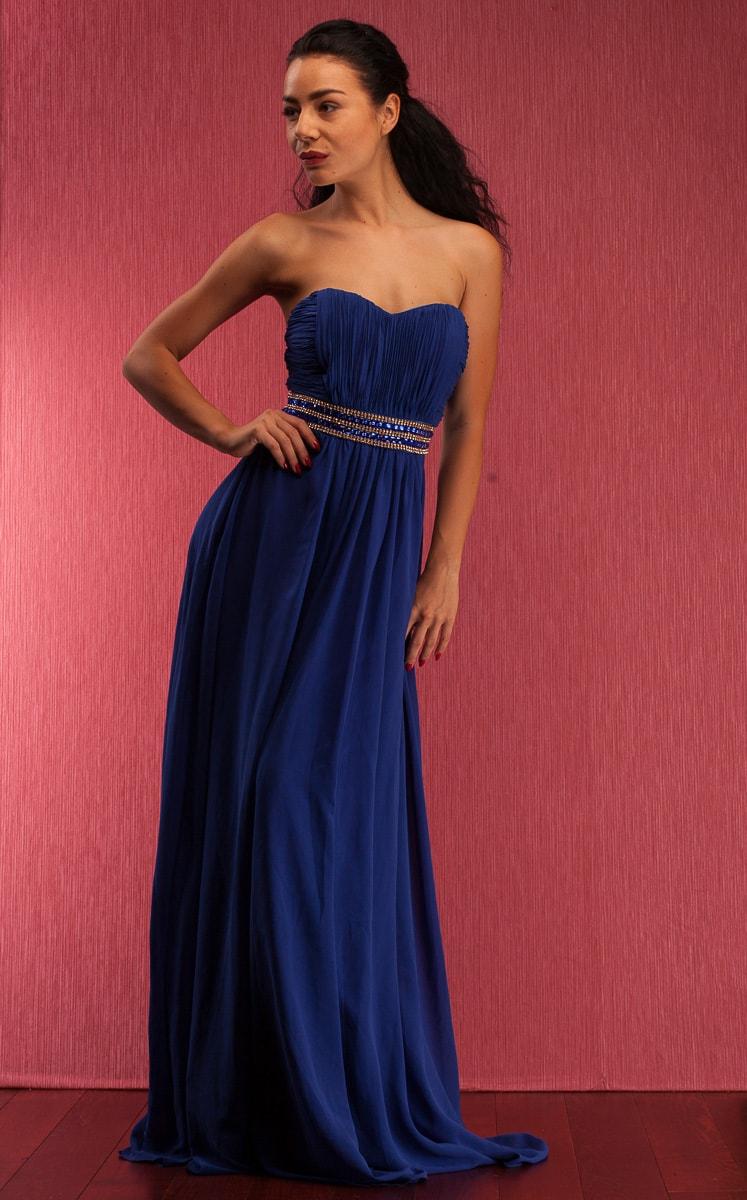 Společenské dlouhé šaty se štrasovým zdobením bez ramínek - modrá ... e8fadb9d82