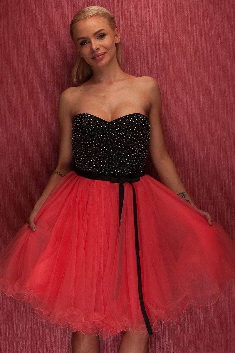 Dámské krátké plesové šaty bez ramínek - cihlová - Due Linee - Šaty ... 5a83d6db95