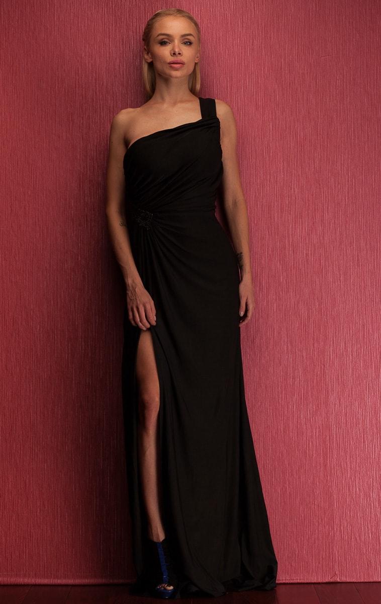 Společenské dlouhé šaty na jedno rameno se zdobením - černá ... 1da9237cc2