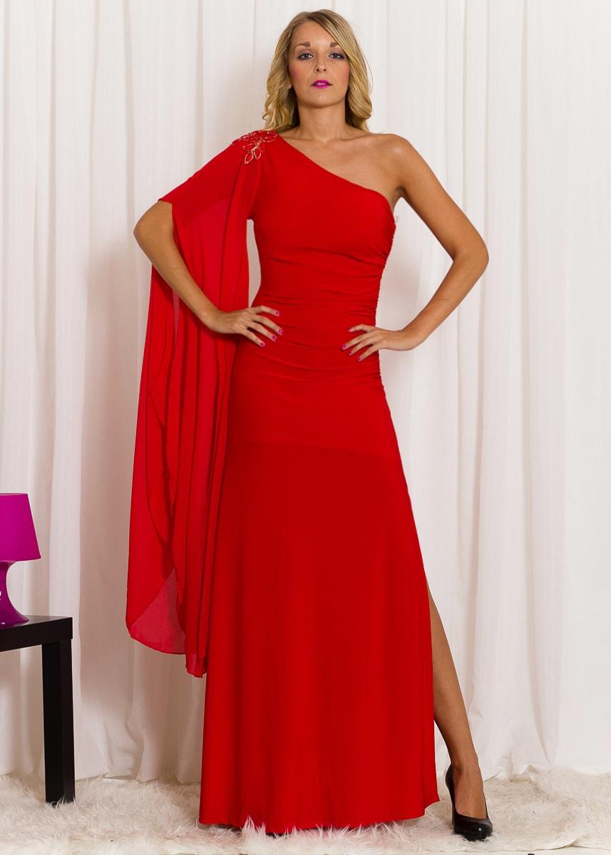 Společenské dlouhé šaty na jedno rameno s rukávem - červená cb19abd157