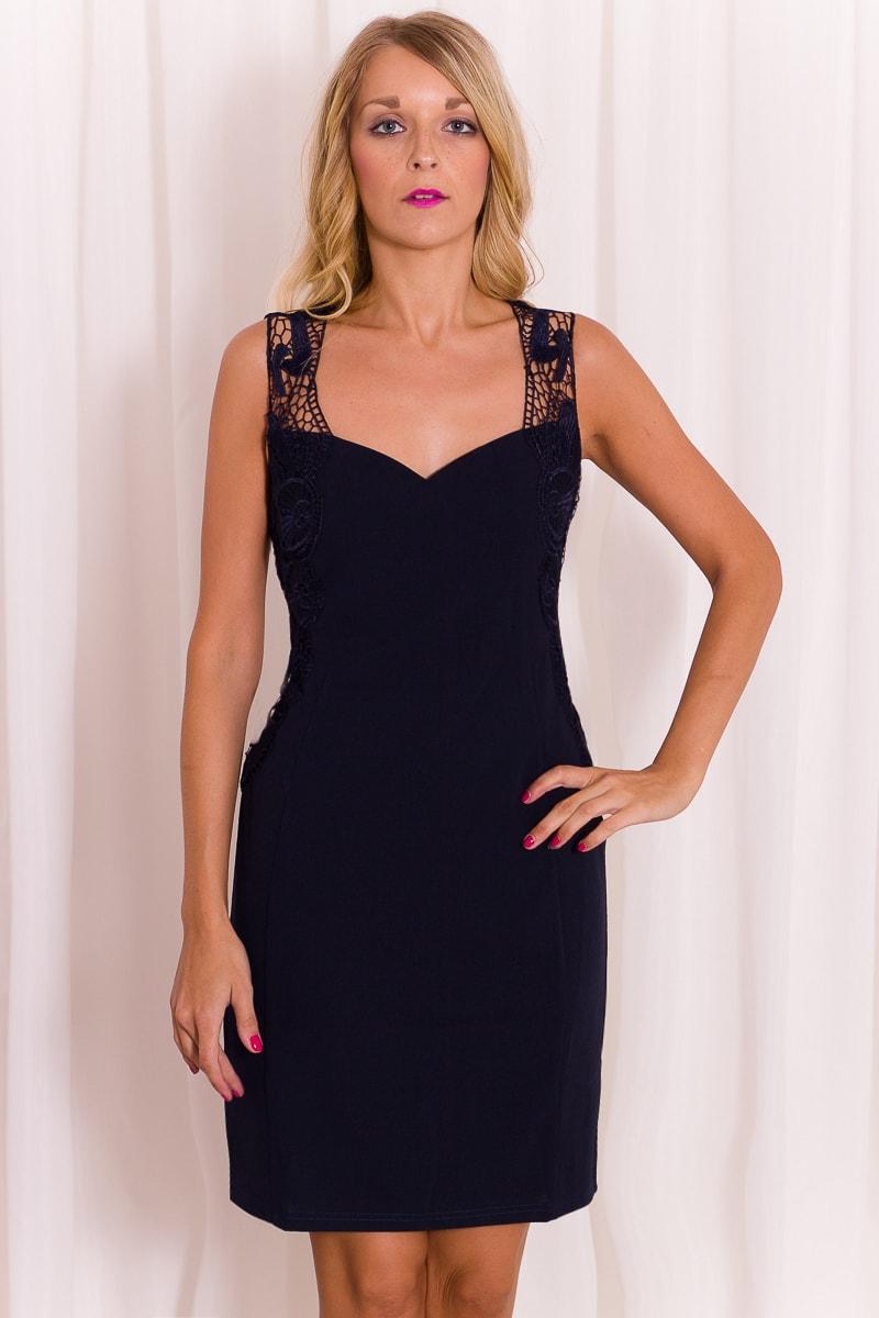 Dámské elegantní šaty s krajkovými ramínky - modrá - Due Linee ... e2e47660d1
