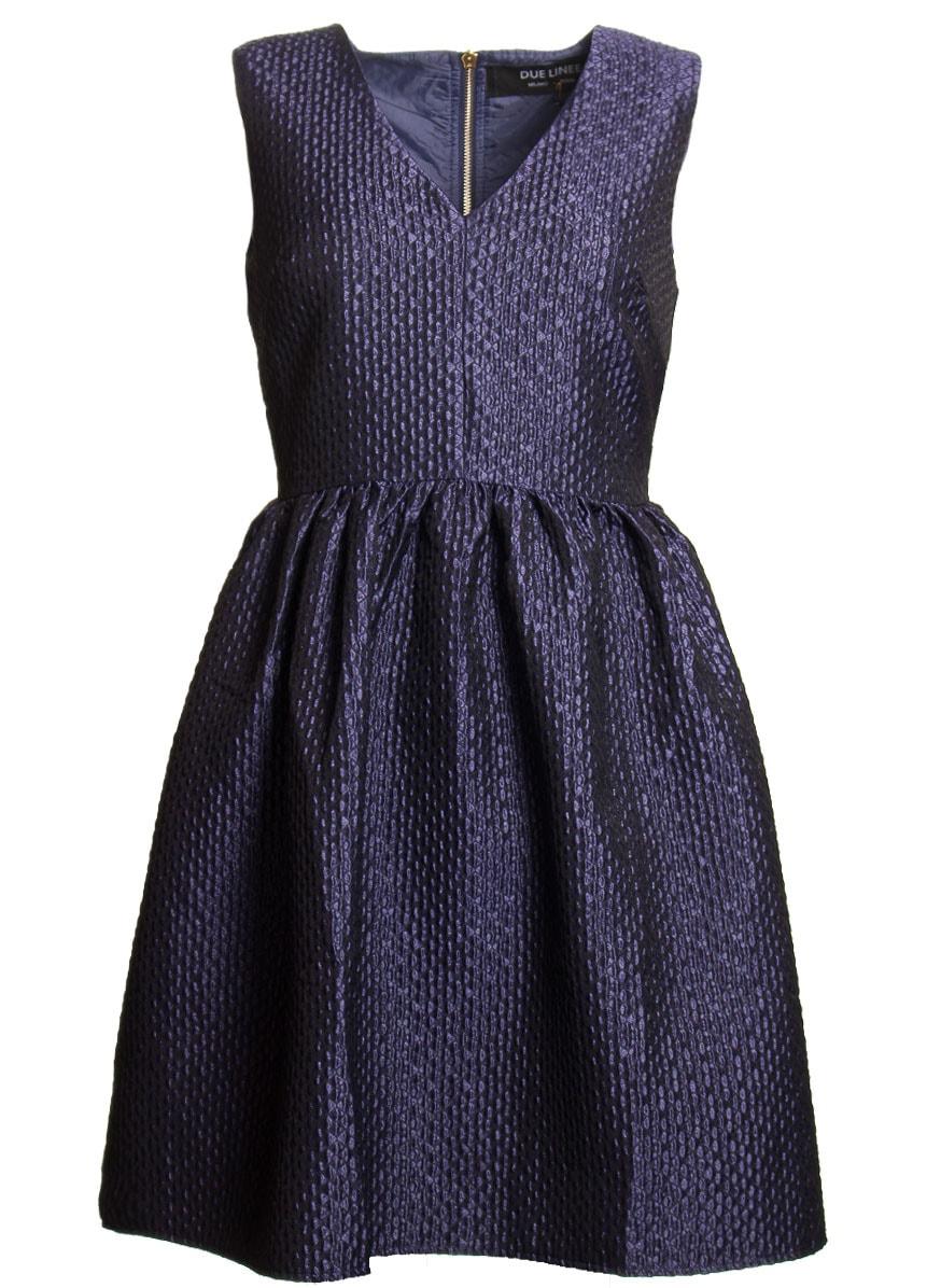 Glamadise.sk - Dámske modré šaty A strih s motívom - Due Linee ... 35b910f736