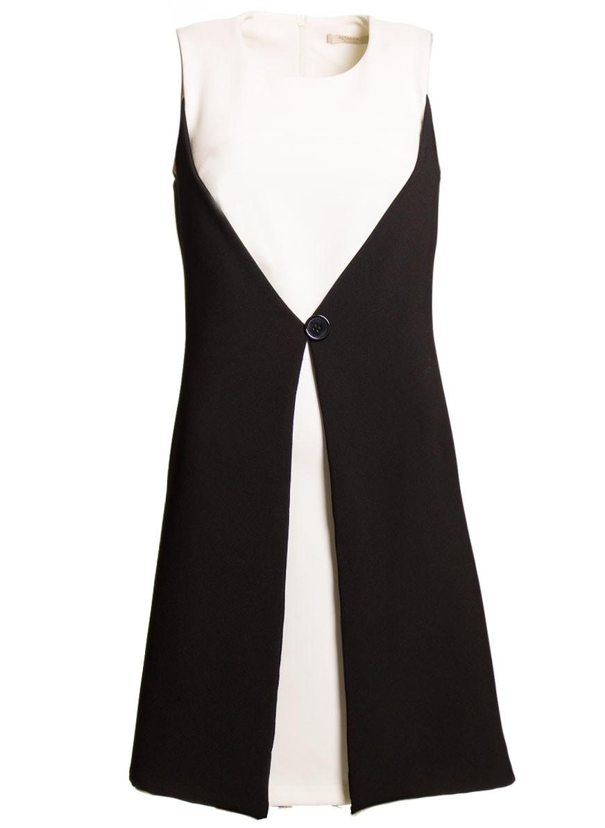 Glamadise.sk - Dámske elegantné šaty čierno - biele s gombíkom ... 3fb51ff425e