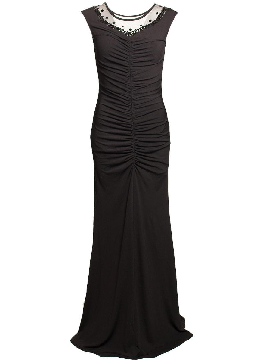 Glamadise.sk - Spoločenské dlhé šaty s riasením a zdobením - čierne ... f43b74bfde3