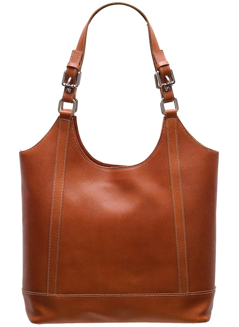 Glamadise.sk - Dámska kožená kabelka s prackami na pútkach - hnedá ... 0fcf48e9640