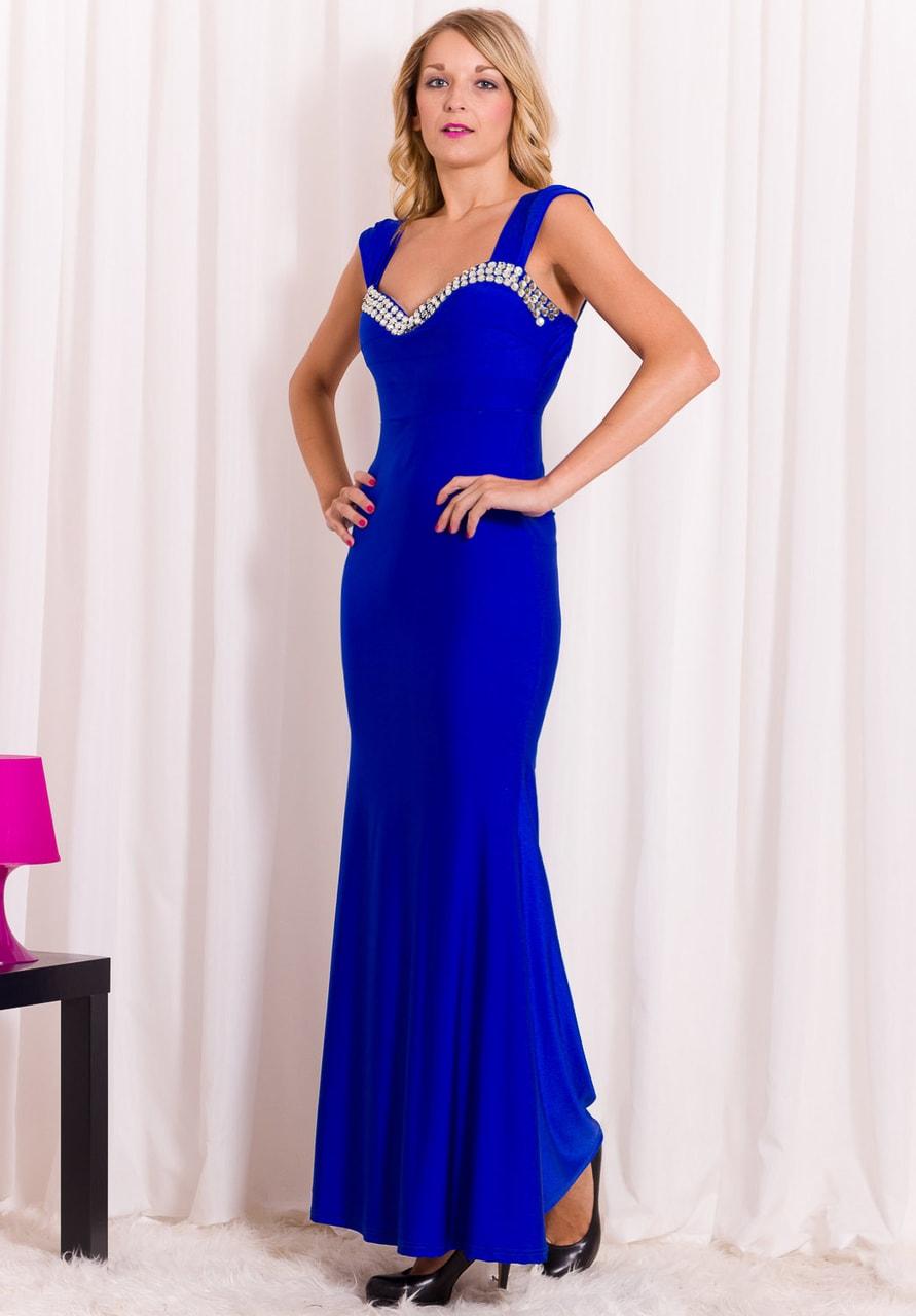 Společenské šaty dlouhé modré s kamínky - Etina Paris - Dlouhé šaty ... 163d3169fa