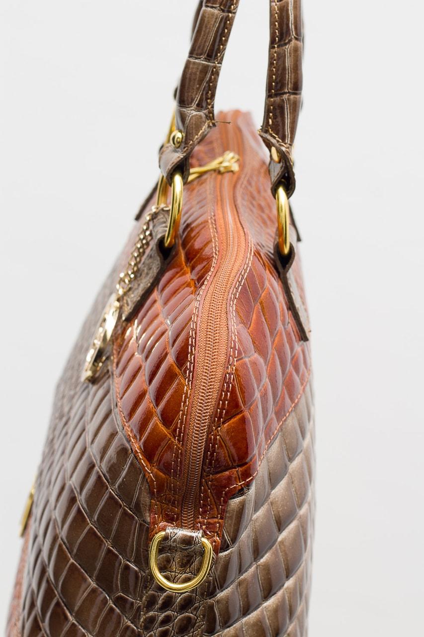 Dámská kožená kabelka lakovaná krokodýl šedo - hnědá - Glamorous by ... 9fbc1063792