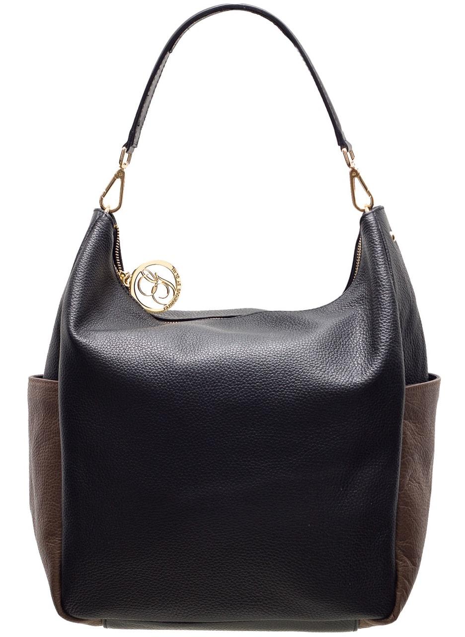 Glamadise.sk - Dámska kožená kabelka cez plece čierno - hnedá ... 61f79bd233d