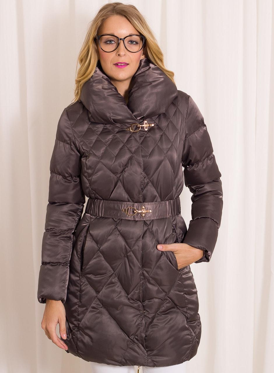Glamadise.sk - Dámska zimná bunda lesklá s golierom a opaskom - šedá ... 6f75e4b412a