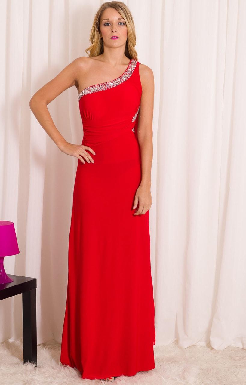 Společenské dlouhé šaty s kamínky na jedno rameno - červená - Due ... 48a7dbe285