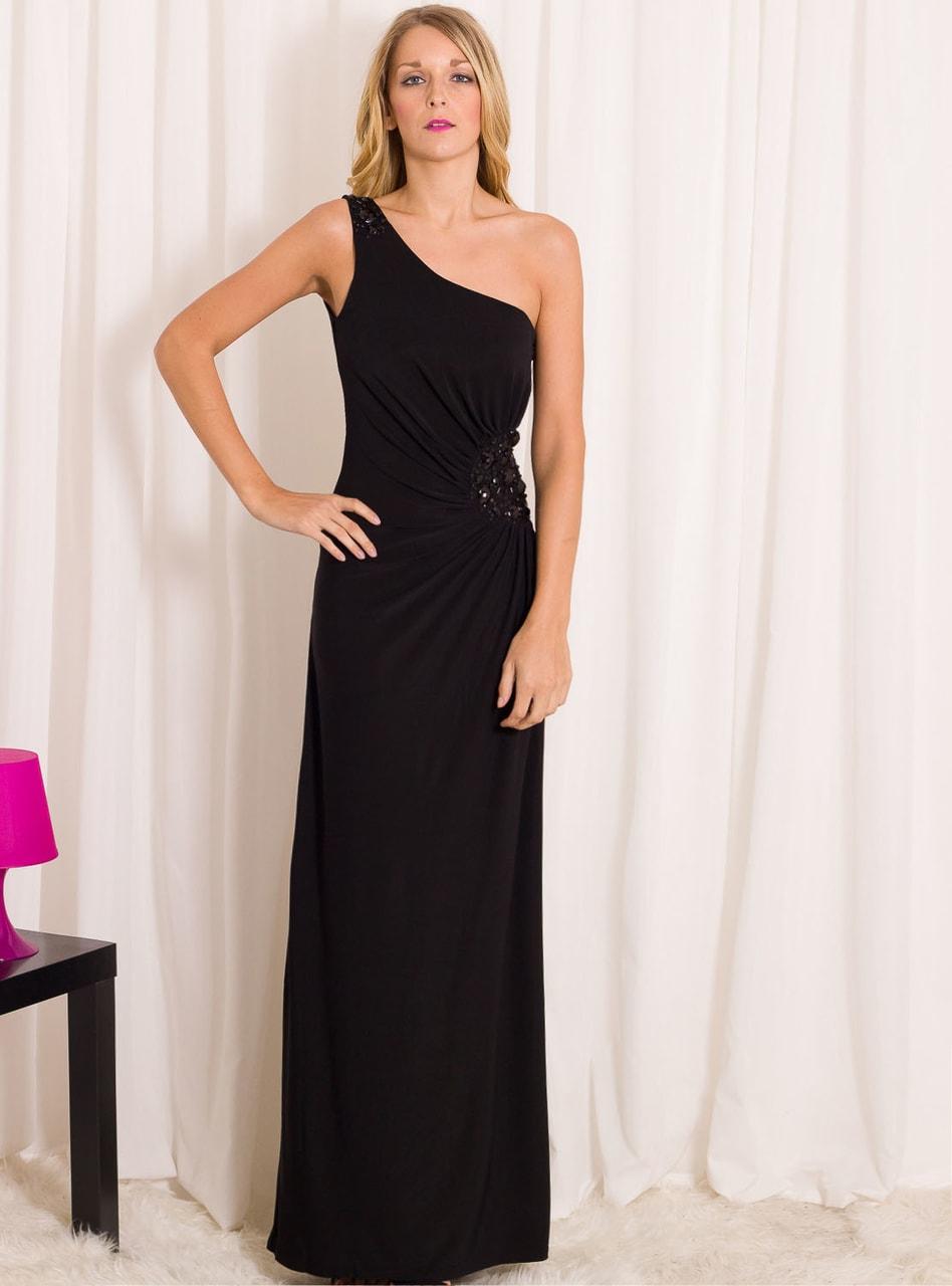 Společenské dlouhé šaty na jedno rameno se zdobením - černá - Due ... bbaf7bb2cd