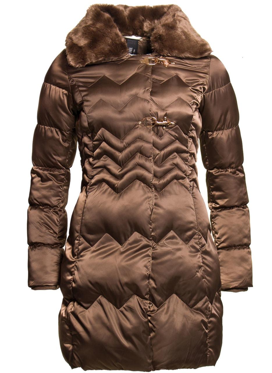 055e03cd64a1 Glamadise.sk - Dámska zimná bunda s chlpatým golierom - hnedá - Due ...