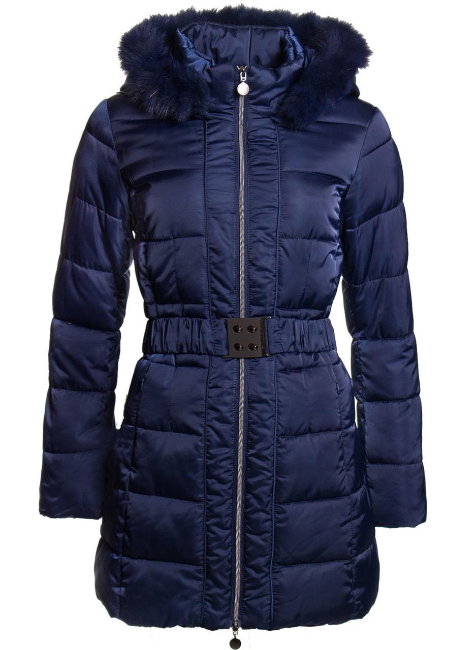 Glamadise.sk - Dámska zimná bunda s opaskom s kapucňou - modrá - Due ... 0e2978d9cc3