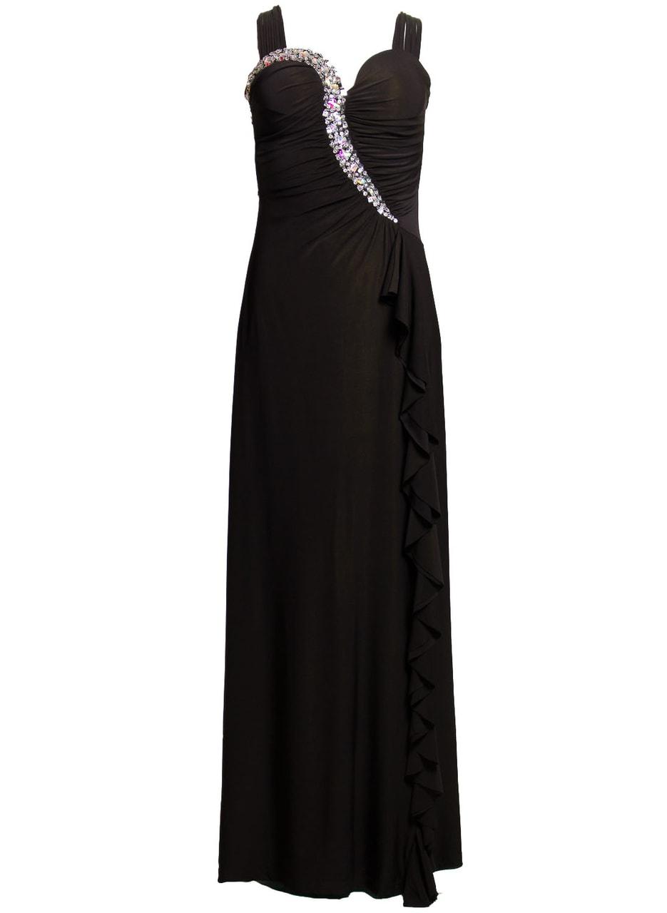 Glamadise.sk - Spoločenské dlhé šaty s tenkými ramienko a zdobením ... e7bd66d6513