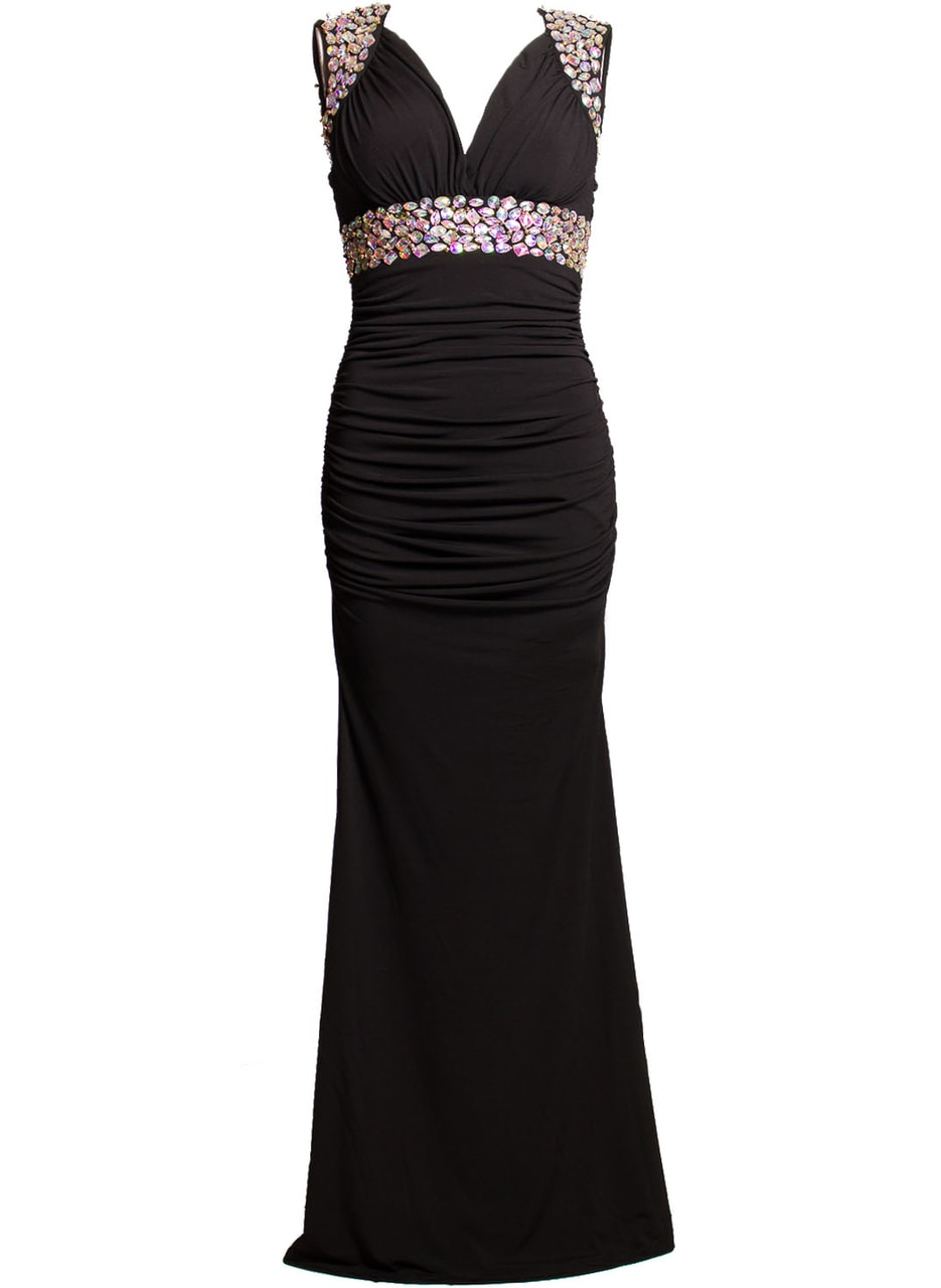 Glamadise.sk - Spoločenské dlhé šaty naberané so zdobením - čierne ... 2c3dea7b29e
