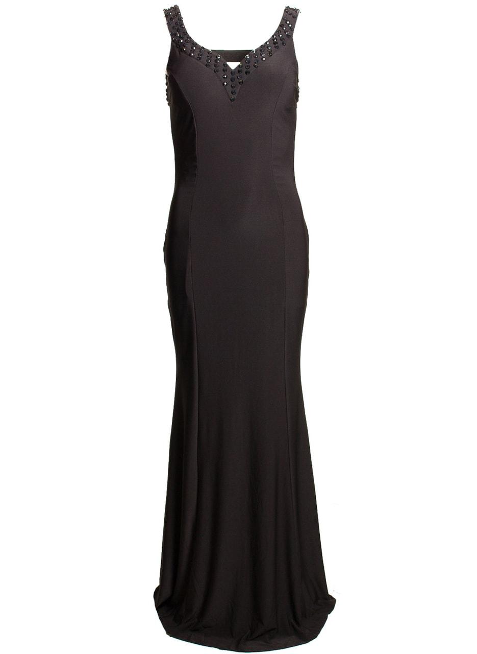 Společenské dlouhé šaty s volnými zády - černá - Due Linee - Dlouhé ... 0bd5d90bd7