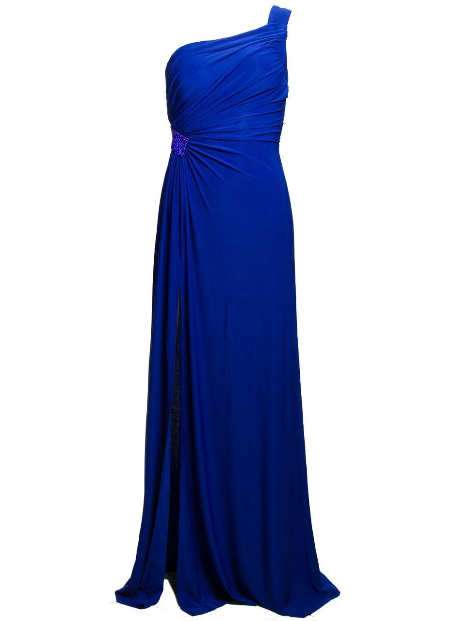 Společenské dlouhé šaty na jedno rameno se zdobením - modrá ... c495fbb08a