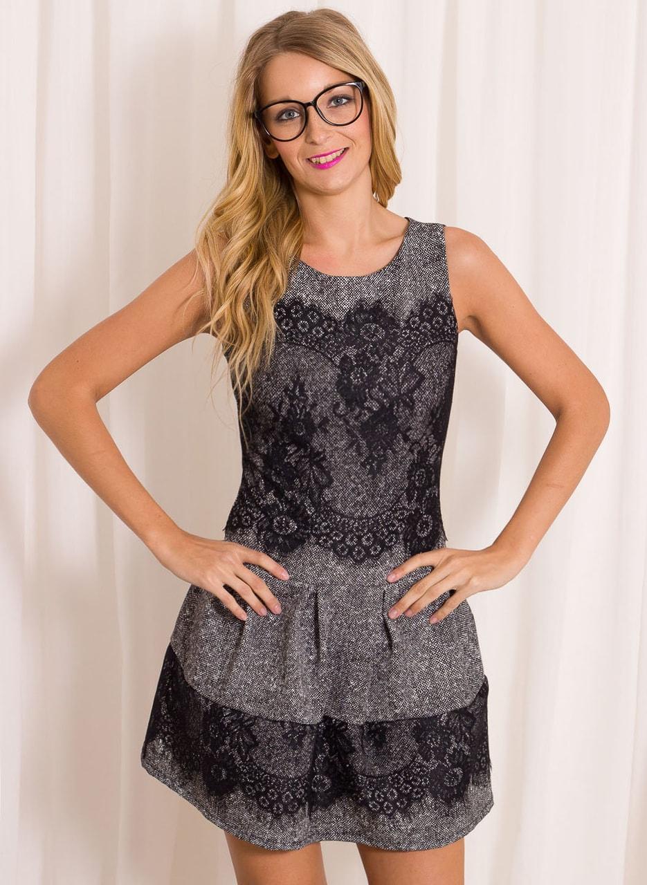 81722af9dea Dámské elegantní šaty s krajkou - šedé - Šaty - Dámské oblečení ...