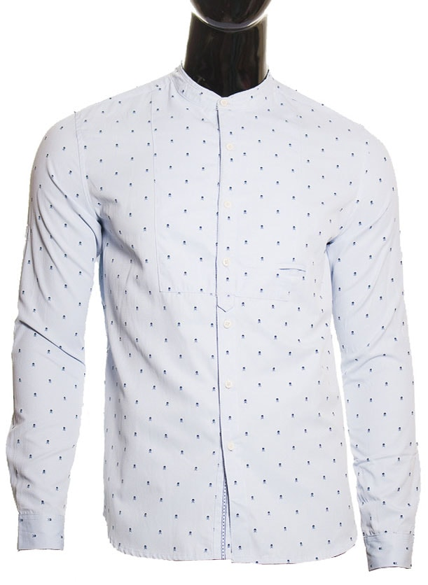 Pánská světle modrá košile s lebkami bez límečku - Pánské košile ... 8072686ebd