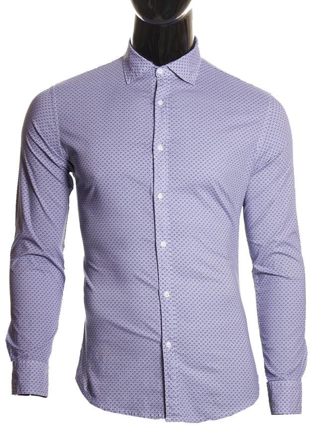c419b6d978ee Glamadise.sk - Pánska košeľa vzorovaná modrá - Pánské košele ...