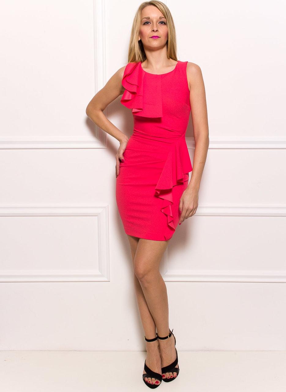 Glamadise.sk - Dámske elegantné šaty s volánmi - lososová ... d76acf85993