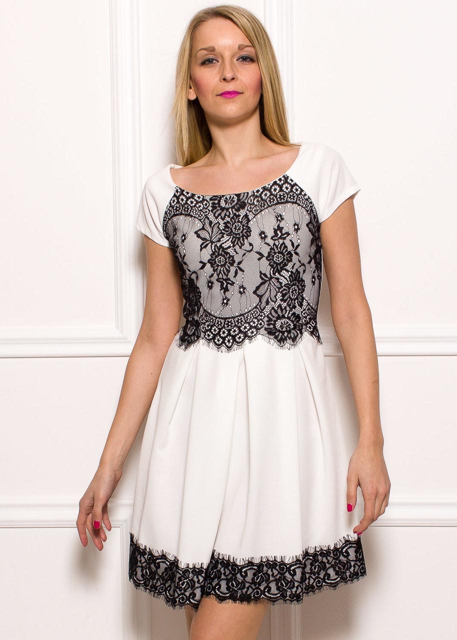 Dámské šaty bílé s rukávem a černou krajkou - Glamorous by Glam ... 439b3afd65
