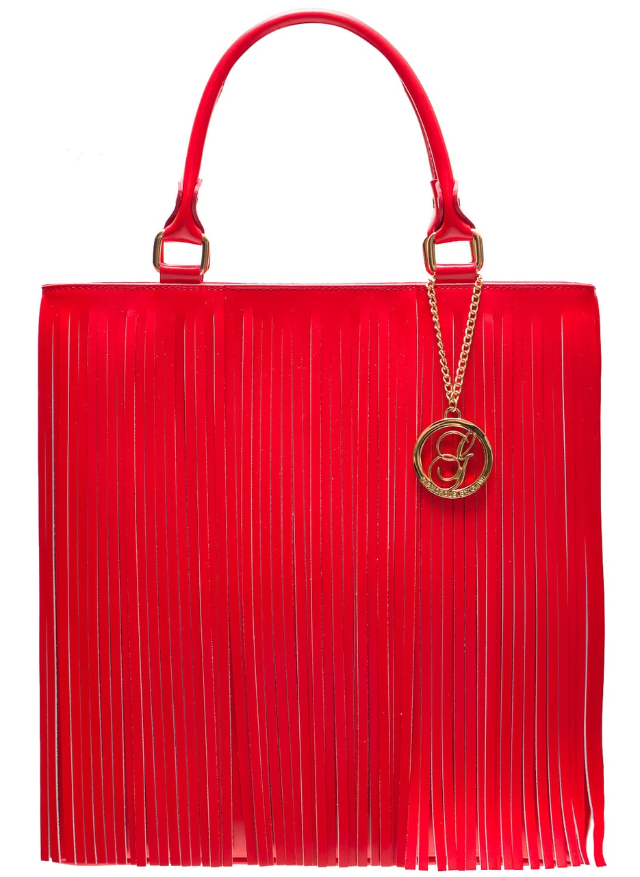 Glamadise.sk - Dámska kožená kabelka so strapcami - červená ... 8e9b82539f0