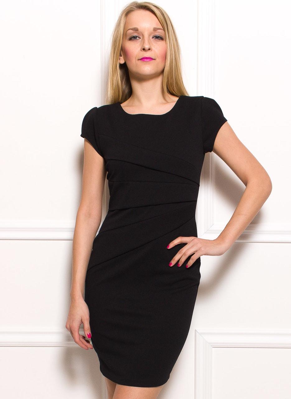 Glamadise.sk - Dámske puzdrové šaty so zdobením v páse - čierna ... 99179a22b85
