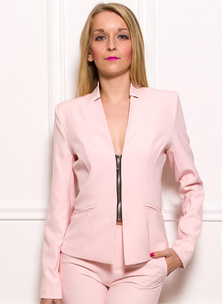 Dámské elegantní sako na zip - světle růžová - Glamorous by Glam ... 1fd7e29f3a