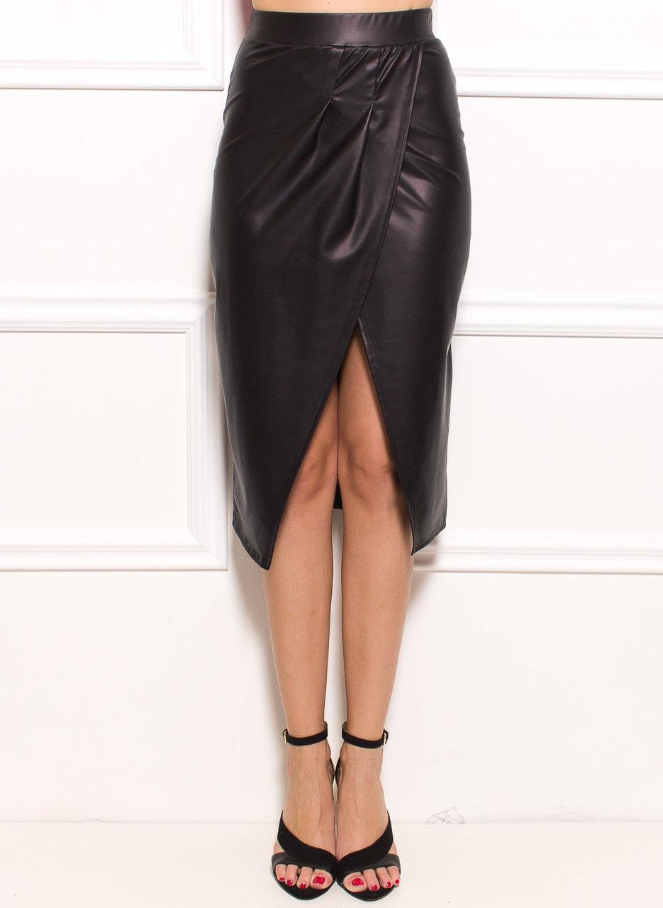 889a6d3ec54 Černá sukně s rozparkem mokrý vzhled - Sukně - Dámské oblečení ...