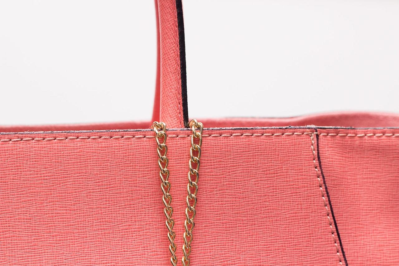 Kožená kabelka ze safiánové kůže jednoduchá - lososová - Glamorous ... e5baf6fbac