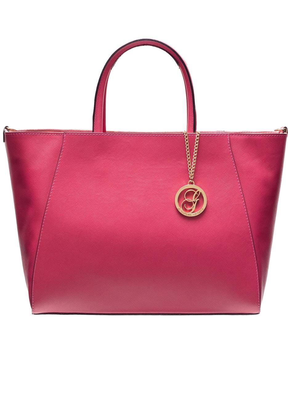 Kožená kabelka ze safiánové kůže jednoduchá - fuchsiová - Glamorous ... da92b2f250