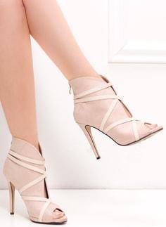 Dámské camel sandály na masivním podpatku Dámské kotníkové boty na zip -  béžová ... 1860acf791