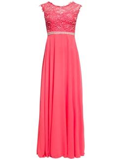 cdd9edaa86c Společenské luxusní dlouhé šaty s krajkou a perličkami - tmavě lososová. Due  Linee