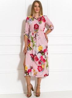 Letní šaty košilové s květinami černé Letní šaty košilové s květinami  světle růžové 2d4b424bbd