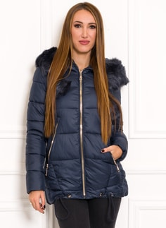 Glamadise.sk - Dámska čierna zimná bunda so zlatými zipsami - Due ... f9ec26859af