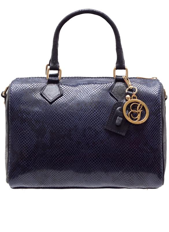 Glamadise.sk - Dámska kožená kabelka Gulati tvar had - tmavá modrá ... 98a819e45da