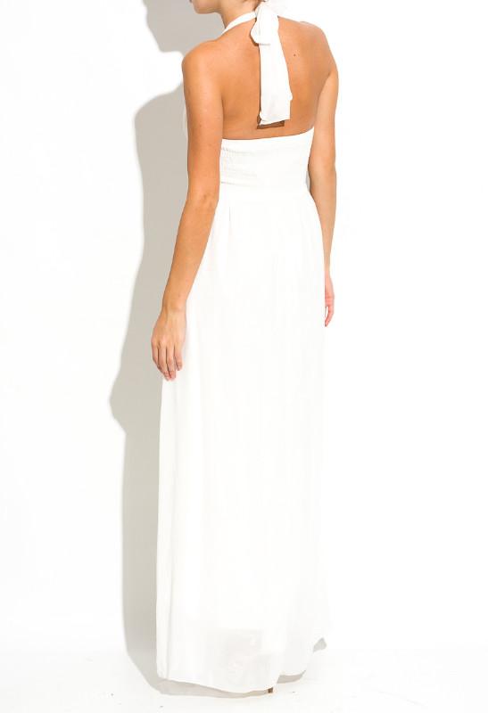 d4cf9c740f0 Glamadise.sk - Spoločenské dlhé šaty okolo krku - biela - Dlhé šaty ...